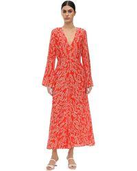RIXO London Платье Миди Sonja С Цветочным Принтом - Красный