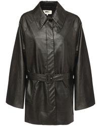 MM6 by Maison Martin Margiela Faux Leather Jacket - Black