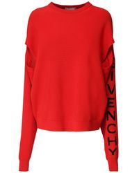 Givenchy Oversize Logo Wool Blend Knit Jumper - Red