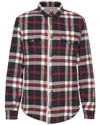 Saint Laurent Oversized Westernhemd Mit Karos - Rot