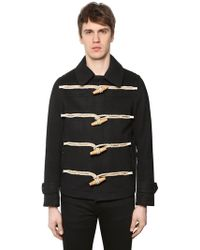 Burberry - Short Wool Cloth Duffle Coat - Lyst