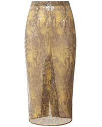 Alessandra Rich スパンコールパイソンプリントスカート - ブラウン