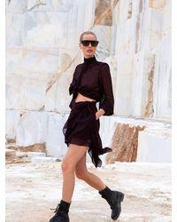 Dundas Asymmetric Polka Dot Silk Mini Skirt - Black
