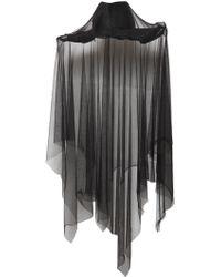 Ann Demeulemeester Straw Hat W/ Tulle Veil - Black