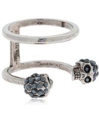 Alexander McQueen - Silver Double Skulls Stacked Ring - Lyst