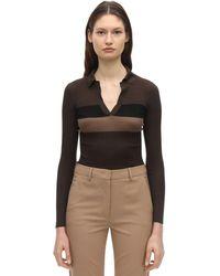 Fendi V Neck Striped Silk Polo Shirt - Black