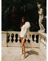 Magda Butrym Exclusive Draped Mini Dress W/ Feathers - White