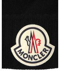 Moncler Beaniemütze Aus Wolle Mit Logo - Schwarz