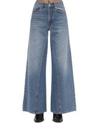 Ganni Wide Leg Cotton Denim Jeans - Blue