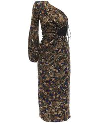 Saint Laurent Платье Миди - Многоцветный
