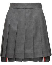 Thom Browne ウールプリーツミニスカート - グレー