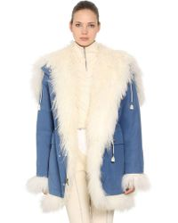 CALVIN KLEIN 205W39NYC - Reversible Fur & Cotton Canvas Coat - Lyst
