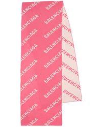Balenciaga Écharpe Allover Logo - Rose