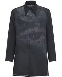 Yohji Yamamoto Льняная Рубашка С Принтом - Черный