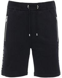Balmain Logo Print Jersey Sweat Shorts - Black