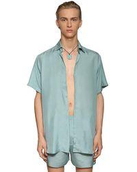 Ludovic de Saint Sernin Silk Short Sleeve Shirt - Blue