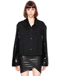 RTA - Oversize Sequined Sleeves Denim Jacket - Lyst