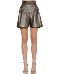 Alberta Ferretti High Waist Metallic Leather Shorts - Gray