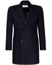 Saint Laurent Zweireihiger Mantel Aus Wolle Und Kaschmir - Schwarz