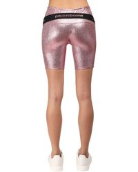 Paco Rabanne Stretch Lurex Jersey Cycling Shorts - Pink