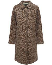 A.P.C. Mandeau Alice Leopard ウールコート - ブラウン