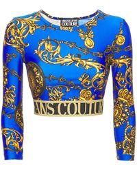 Versace Jeans Couture Oberteil Aus Jersey Mit Baroque-druck - Blau