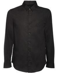 Armani Exchange ストレッチコットンポプリンシャツ - ブラック