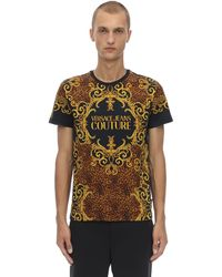 Versace Jeans Couture バロックプリント コットンジャージーtシャツ - ブラック