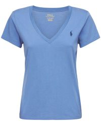 Polo Ralph Lauren T-shirt En Coton À Logo Col En V - Bleu