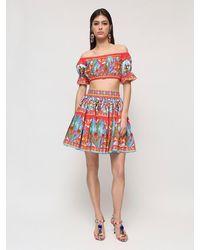 Dolce & Gabbana Топ Из Хлопкового Поплин С Принтом - Красный
