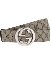 Gucci 40mm Gg Supreme Logo Leather Belt - Natural