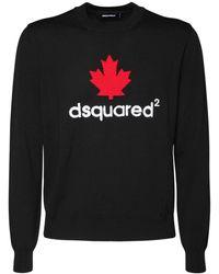 DSquared² Leaf インターシャウールニットセーター - ブラック