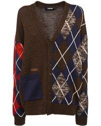 DSquared² Cardigan En Laine Tricotée Motif Losanges - Multicolore
