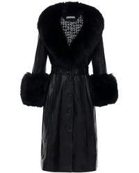 Saks Potts Foxy Leather Coat W/ Fox Fur - Black
