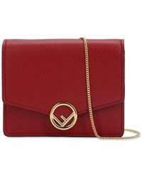 Fendi Micro Leather Card Holder Bag - Red