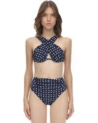 Self-Portrait Haut De Bikini Croisé En Lycra Imprimé - Bleu