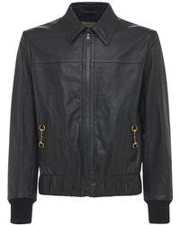 Gucci レザーボンバージャケット - ブラック