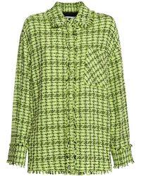 MSGM Рубашка Из Полухлопкового Твида - Зеленый