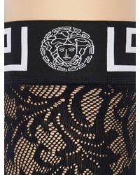Versace Greek Motif Elastic & Lace Thigh Highs - Black