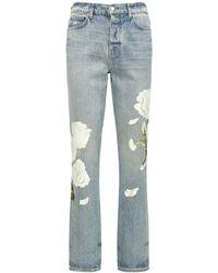 Amiri Jeans relajados pintados con flores - Azul