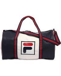 Fila - Colour Block Logo Faux Leather Duffle Bag - Lyst