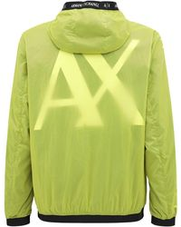 Armani Exchange ナイロン フード付きジャケット - グリーン