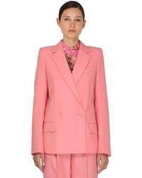 Givenchy Двубортный Пиджак Из Холодной Шерсти - Розовый