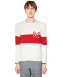 Thom Browne - Striped Tennis Cashmere Knit Jumper - Lyst