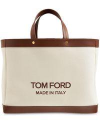 Tom Ford キャンバス&レザーショッピングバッグ - ブラウン