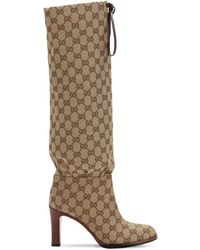 Gucci Beige GG Canvas Mid-heel Boots - Natural