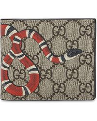 Gucci - Snake Printed Coated Canvas Wallet - Lyst