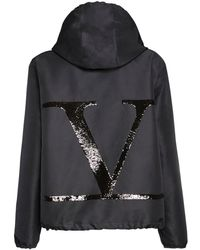 Valentino Go Logo スパンコールナイロンジャケット - ブラック