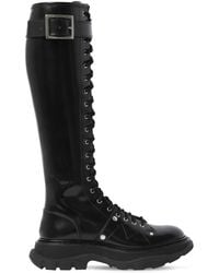Alexander McQueen Высокие Сапоги Из Кожи 40мм - Черный