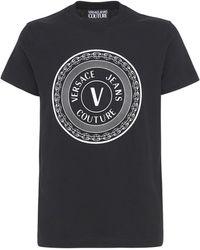 Versace Jeans Couture T-shirt Aus Baumwolle Mit Logodruck - Schwarz